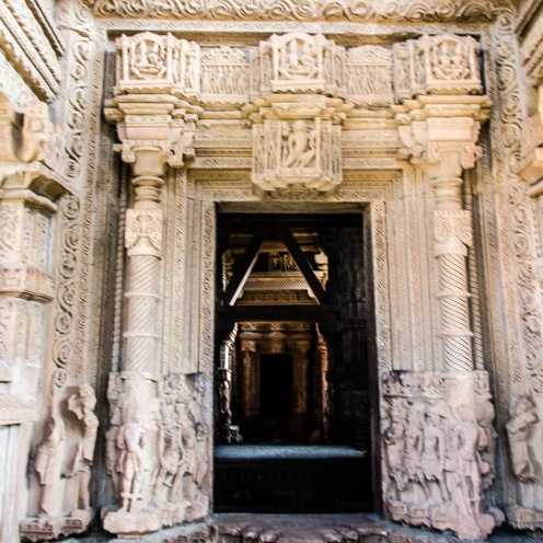 the eEntrance to the mandapa. the lintel shows a gariday and the top panel just aboive it has the trinity. the river devis are at te base of the door jambs