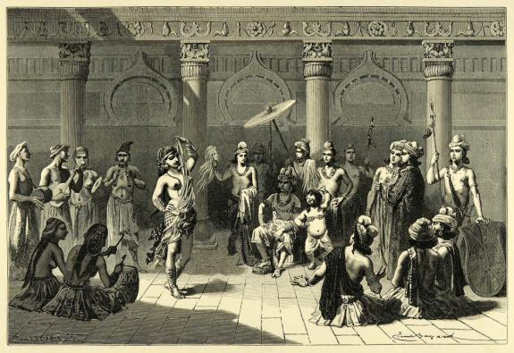 A_vision_of_ancient_Indian_court_life,_using_motifs_from_Sanchi_(wood_engraving,_1878)