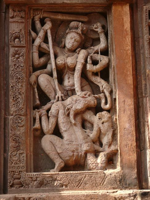 Enshrined in a central niche an eight-armed Chamunda, a terrifying form of the goddess Durga_