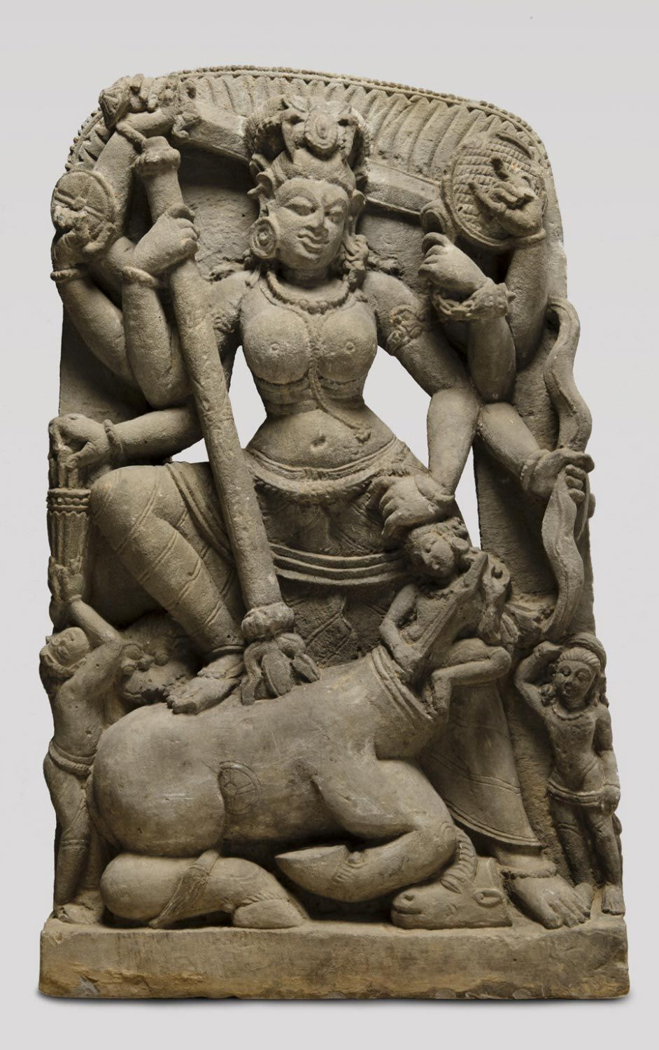 Mahishasuramardini (Durga Destroying the Buffalo Demon) Artist_maker unknown, Indian Geography_ Made in Uttar Pradesh, India, Asia Date_ Mid- 8th century Medium_ Sandstone Dimensions_ 29 1_2 × 18 1_4 × 4 3_4 inc