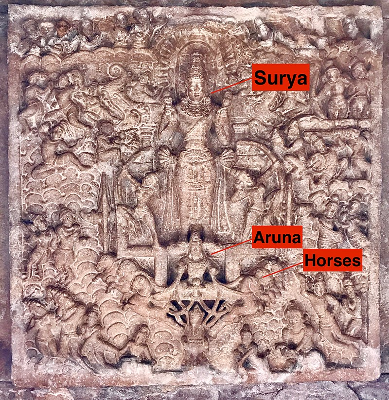 800px-8th_century_Surya_on_chariot_in_ceiling_at_Virupaksha_Shaivism_temple,_Pattadakal_Hindu_monuments_Karnataka_1