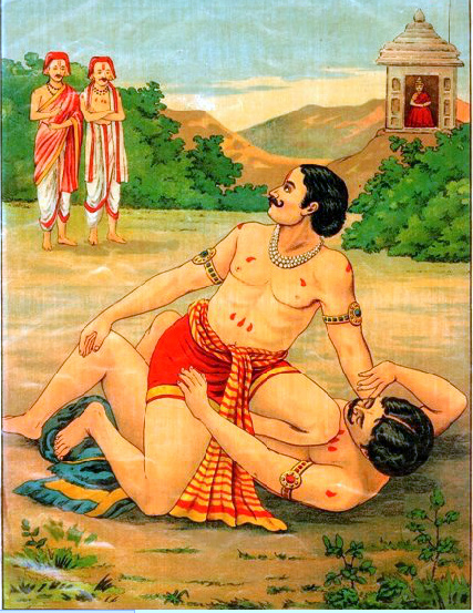 Bhima_and_Jarasandh_Wrestling